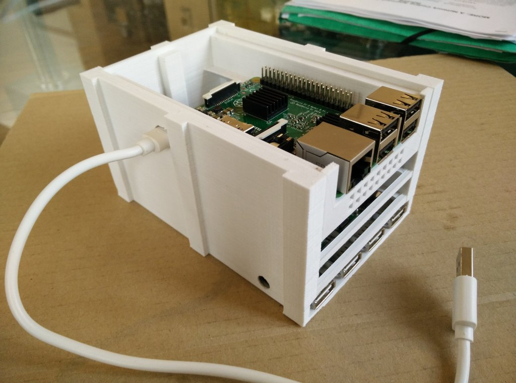 The Raspberry Pi in place on top of the the case