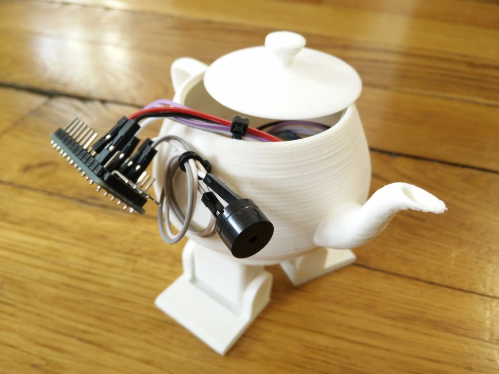 The Arduino board of my robotic teapot with a piezo sounder