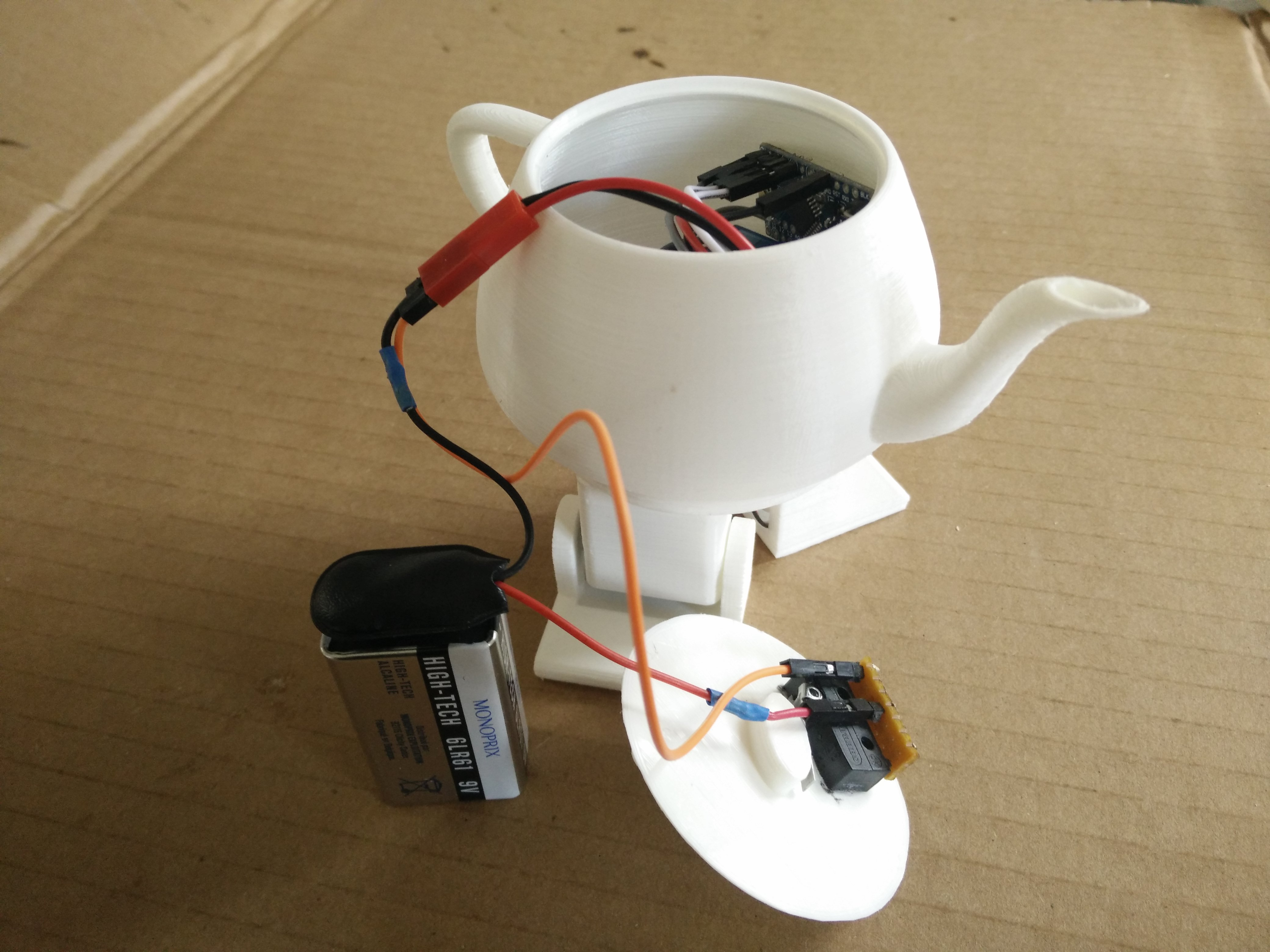 The switch connected to the robotic teapot's battery