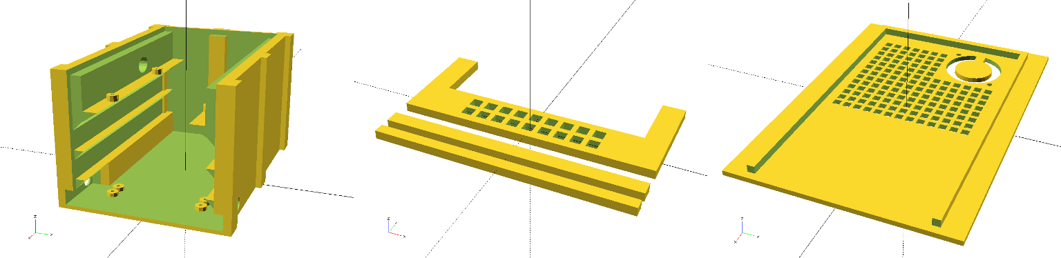 3D models of the case, the front panel and the lid generated with OpenSCAD