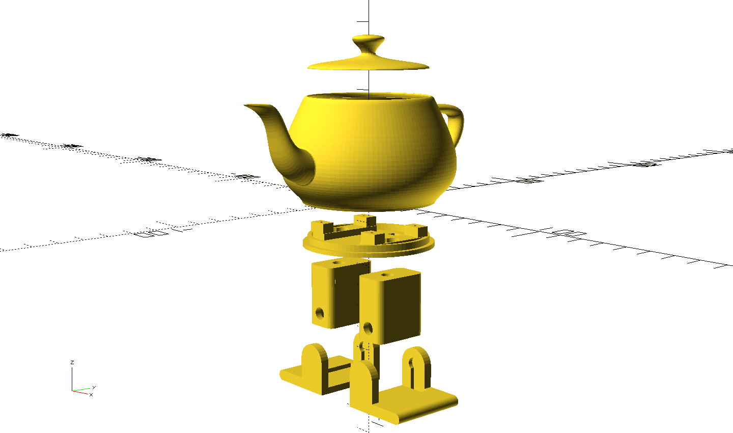 3D models forming the robotic teapot