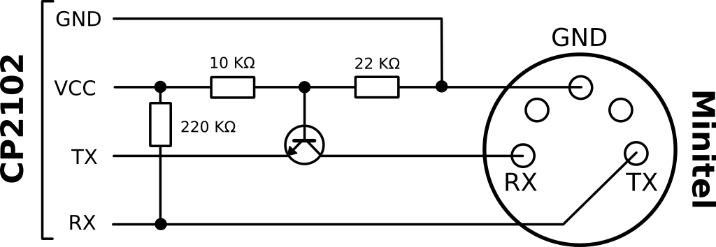 Schematic for the adaptation circuit between the Minitel and CP2102