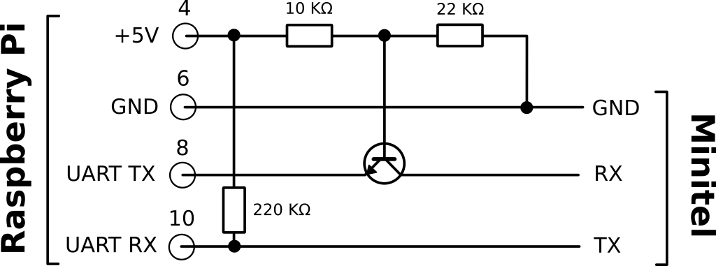 Schematic for the adaptation circuit between the Minitel and the Raspberry Pi